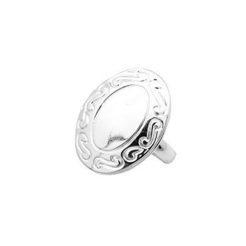 Inel metalic de 16 mm cu deschidere de culoare oval argintiu