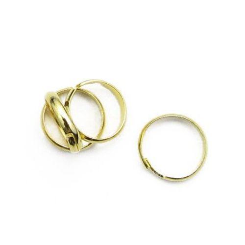 Метална основа за пръстен 14 мм тип халка цвят злато -10 броя