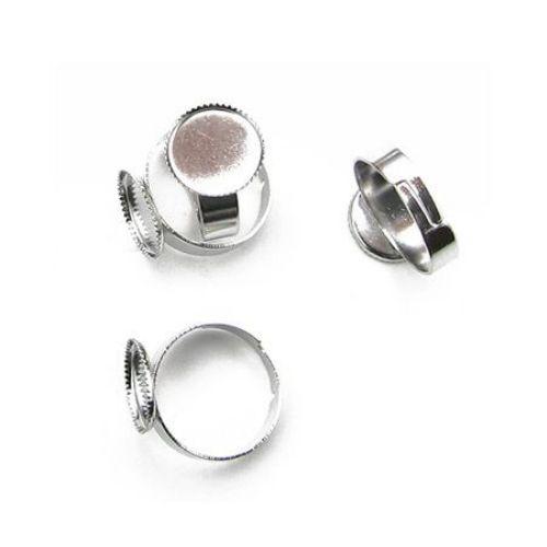Метална основа за пръстен 17 мм цвят сребро -4 броя