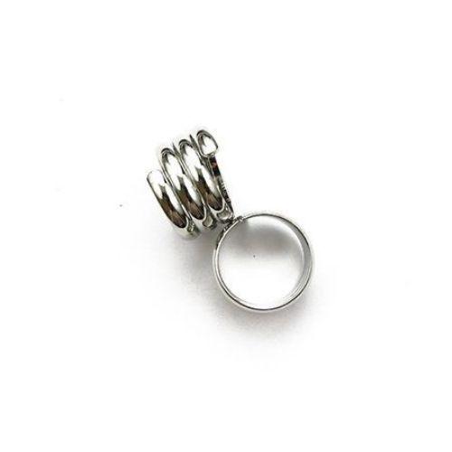 Метална основа за пръстен 18 мм спирала цвят сребро NF -1 брой