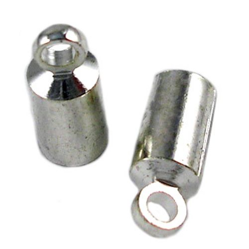 Ακροδέκτης μεταλλικός 9 τρύπα 5x4 mm 1 2 mm με κρίκο, ασημί -20 τεμάχια