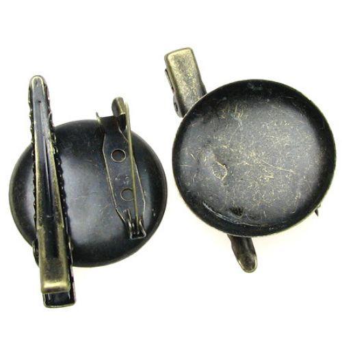 Μεταλλική βάση καρφίτσα/παραμλανα με κλιπ 29x46 mm μπρονζέ
