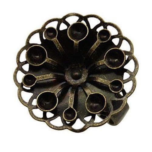Метална основа за пръстен 17 ммцвете 23x3 мм дупка 2~5 мм цвят старо злато