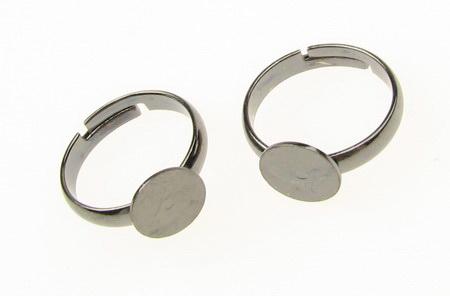 Метална основа за пръстен регулиращ 20 мм плочка 9 мм цвят сребро -5 броя