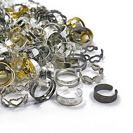 Метална основа за пръстен регулиращ 14~16 мм цвят АСОРТЕ -5 броя