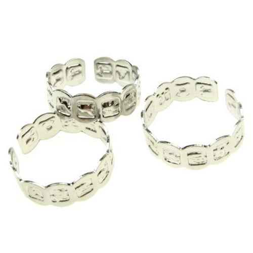 Метална основа за пръстен зодии 18 мм сребро -10 броя
