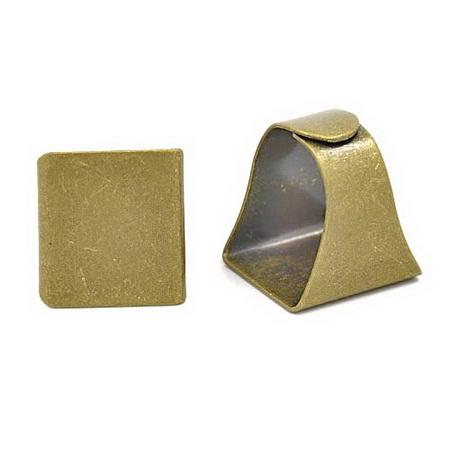 Метална основа за пръстен плочка 19x20 мм регулиращ цвят антик бронз