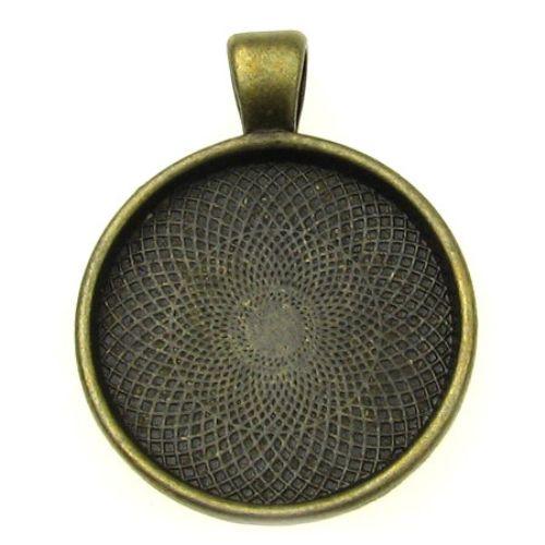 Metal base for medallion36x28x3 tile 25x25 mm hole 4 mm color antique bronze
