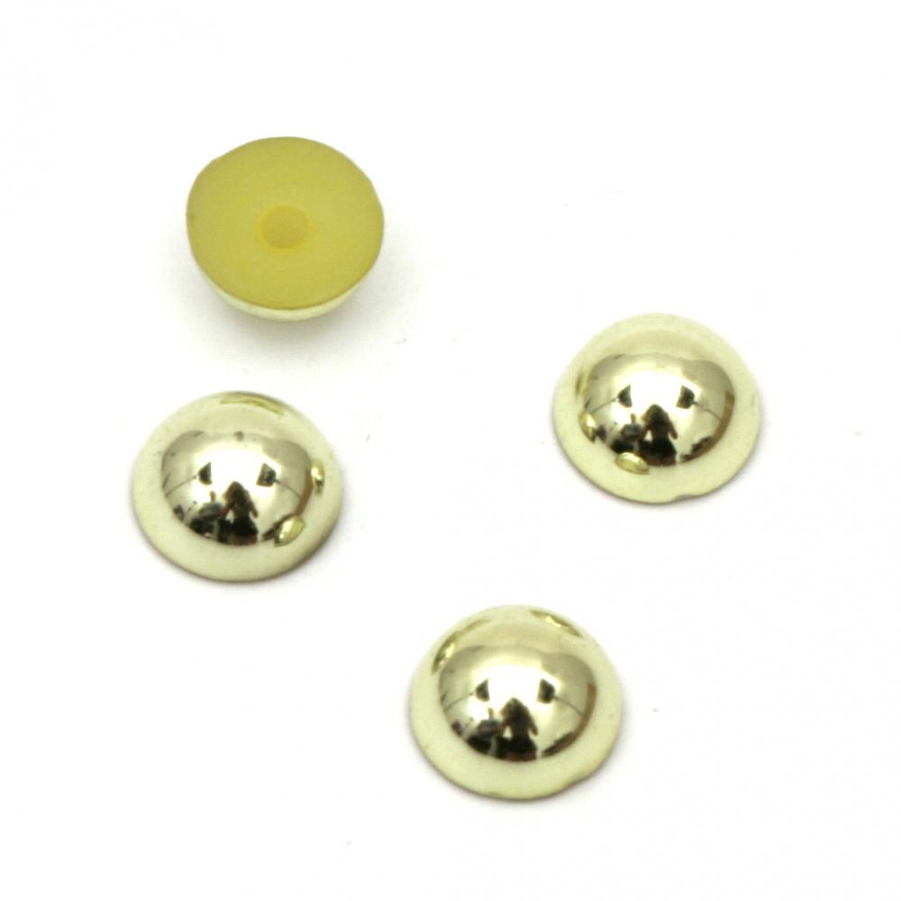 Emisferă perlă pentru incorporare 6x3 mm gaură 1 mm culoare metalică aurie - 100 buc