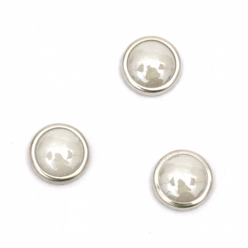 Hot Fix Hemisphere Pearl Beads, Decorations, Clothes, Wedding with built-in glue 8 mm white with metal fitting color silver 50 pieces