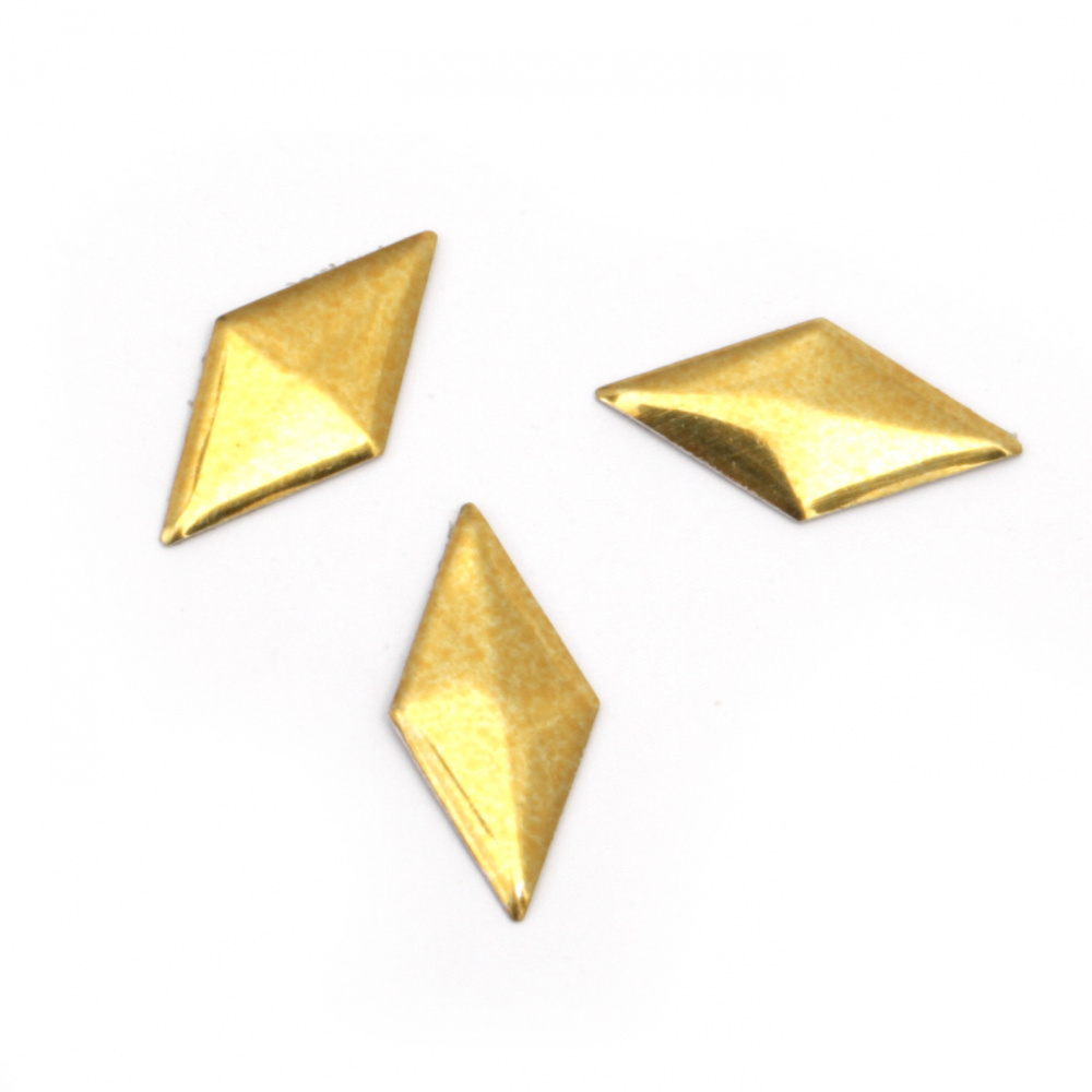 Metal  element rhombus  with glue 16x8x1 mm gold color - 50 pieces