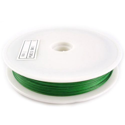 Steel Cord, Jewelry DIY Making 0.38 mm color green -50 meters
