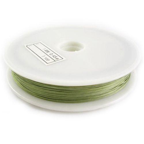 Корда стоманена 0.38 мм цвят зелена светла -50 метра