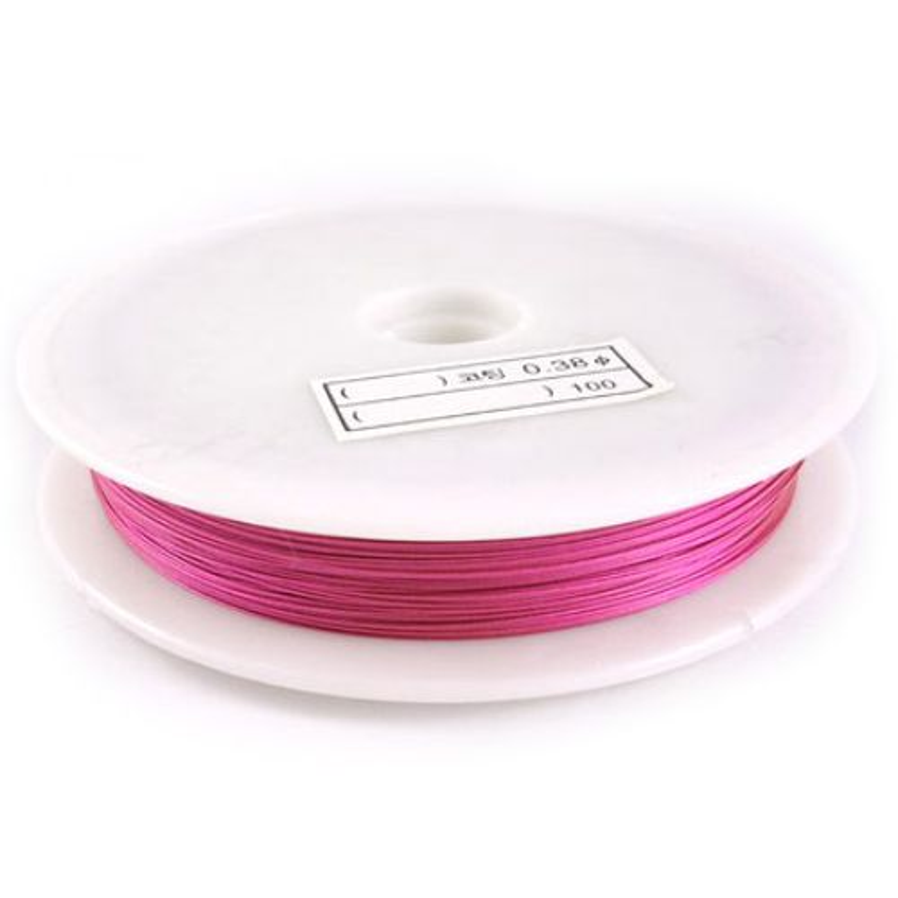 Steel Cord, Jewelry DIY Making 0.38 mm color pink dark -50 meters