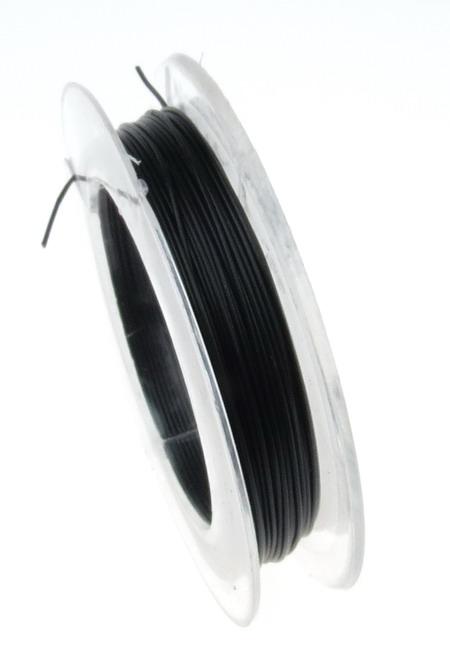 Корда стоманена 0.45 мм цвят черна -10 метра