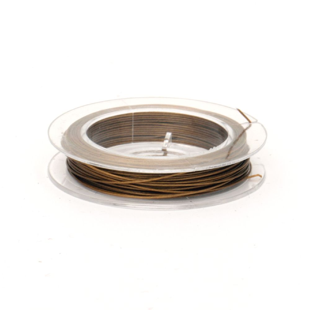 Jewelry Making Steel Cord 0.45 mm color gold -10 meters