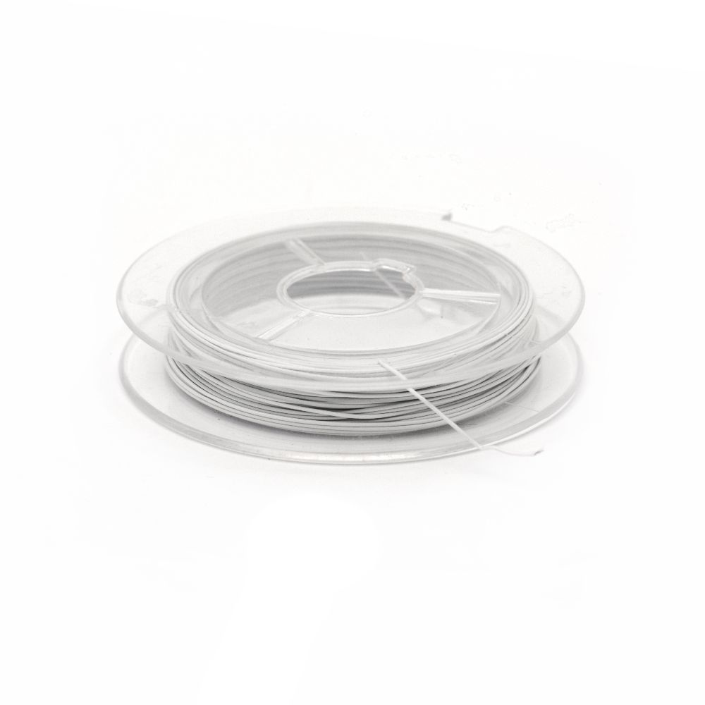 Jewelry Making Steel Cord 0.38 mm white -10 m