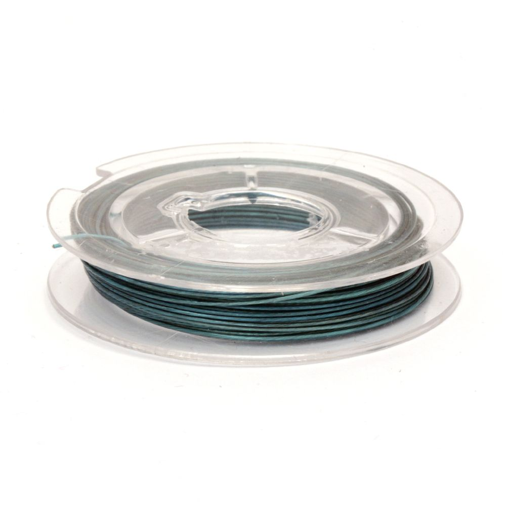 Jewelry Making Steel Cord 0.45 mm color blue light -10 meters