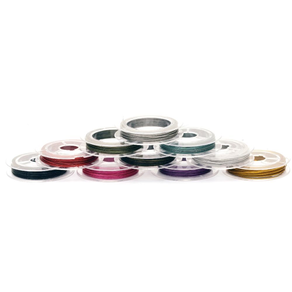 Jewelry Making Steel Cord 0.45 mm color assorted -10 meters