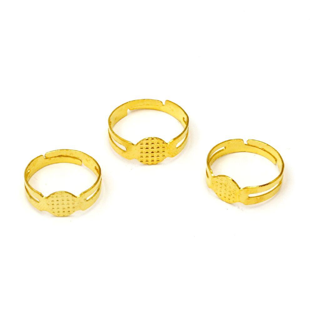 Метална основа за пръстен регулиращ 18 мм основа 8 мм цвят злато -10 броя