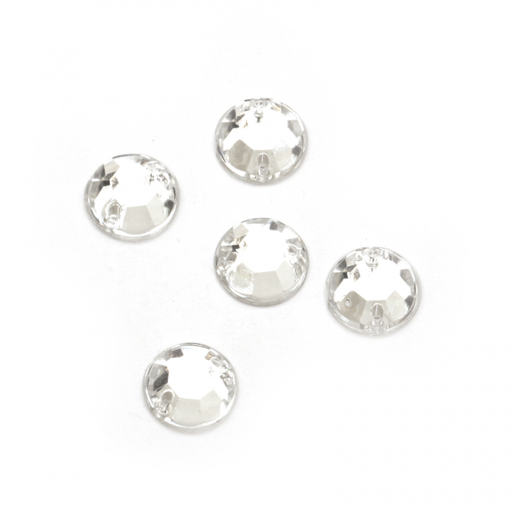 Acrylic stone for sewing 9mm round white transparent faceted - 50 pieces