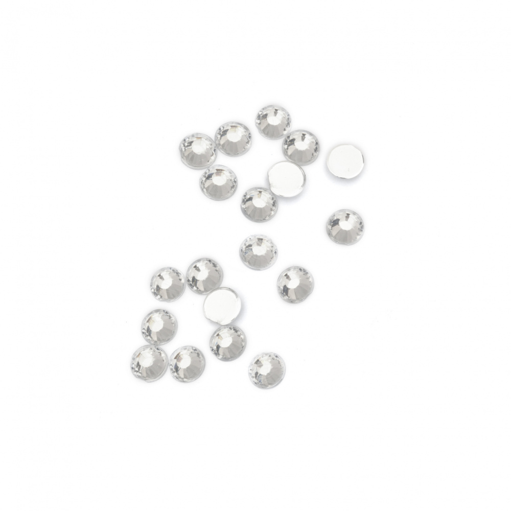 Acrylic stone for gluing 5 mm round transparent faceted -100 pieces