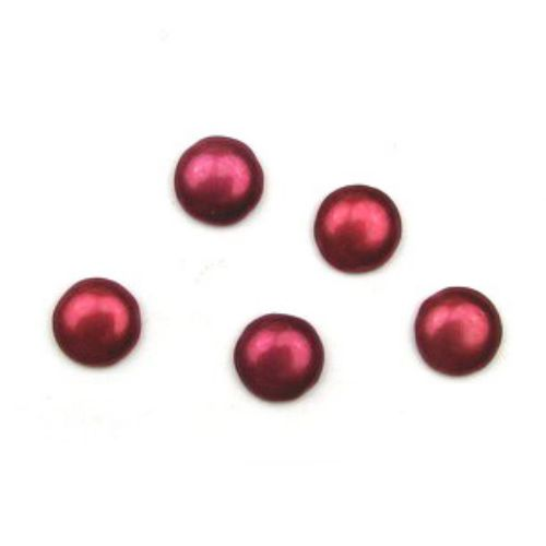 Cabochon type bead glass hemisphere 14 mm red -5 pieces