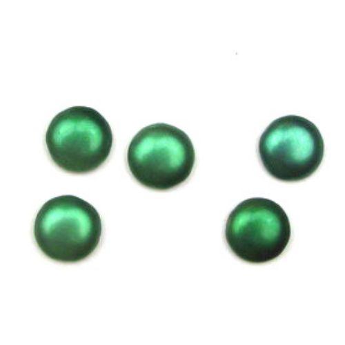 Margele tip cabochon din sticlă emisferă 14 mm verde -5 bucăți