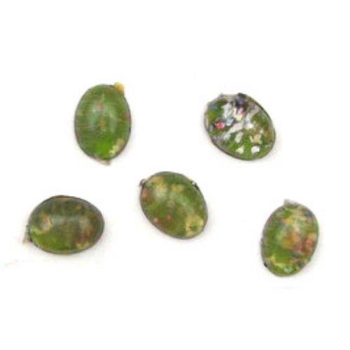 Tip margele cabochon plastic oval 13x18 mm verde  deschis-5 bucăți