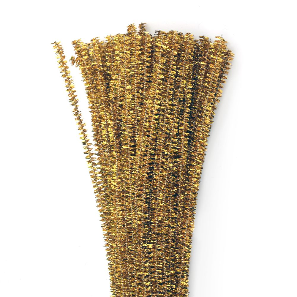 Pipe Cleaners, Chenille Wire, DIY Decorating, Kids Crafts, Shiny gold dark-30 cm -10 pieces