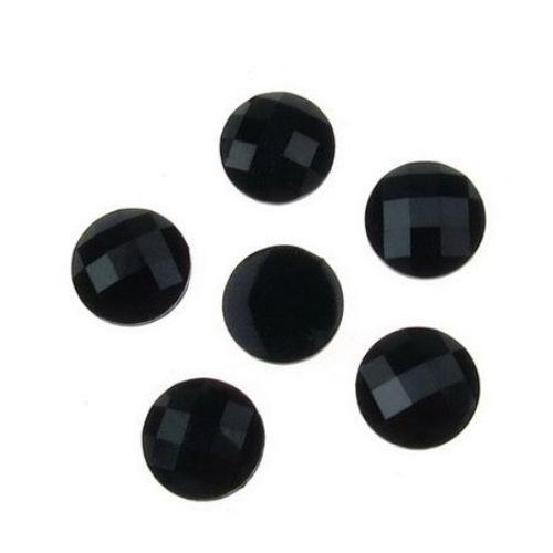 Piatra acrilica pentru lipirea cabochonului tip 10 mm rotund negru -10 bucati