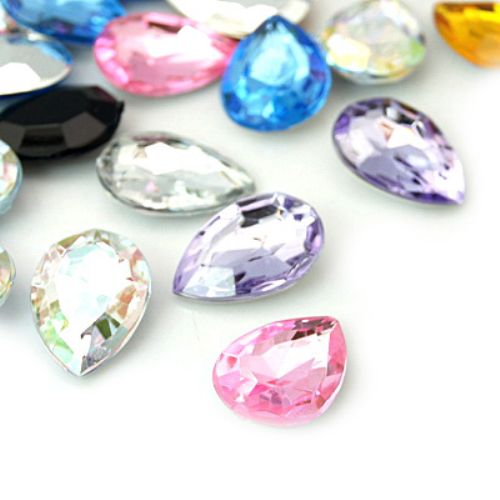 Acrylic Rhinestone, Hot-Fix Decoration, Clothes, DIY, Craft, Jewelry Making 18x13x5.5 mm ASSORTED -10 pieces