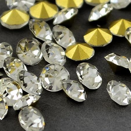 Acrylic Rhinestone, Hot-Fix Decoration, Clothes, DIY, Craft, Jewelry Making round 3.8 ~ 4.0 mm white -100 pieces
