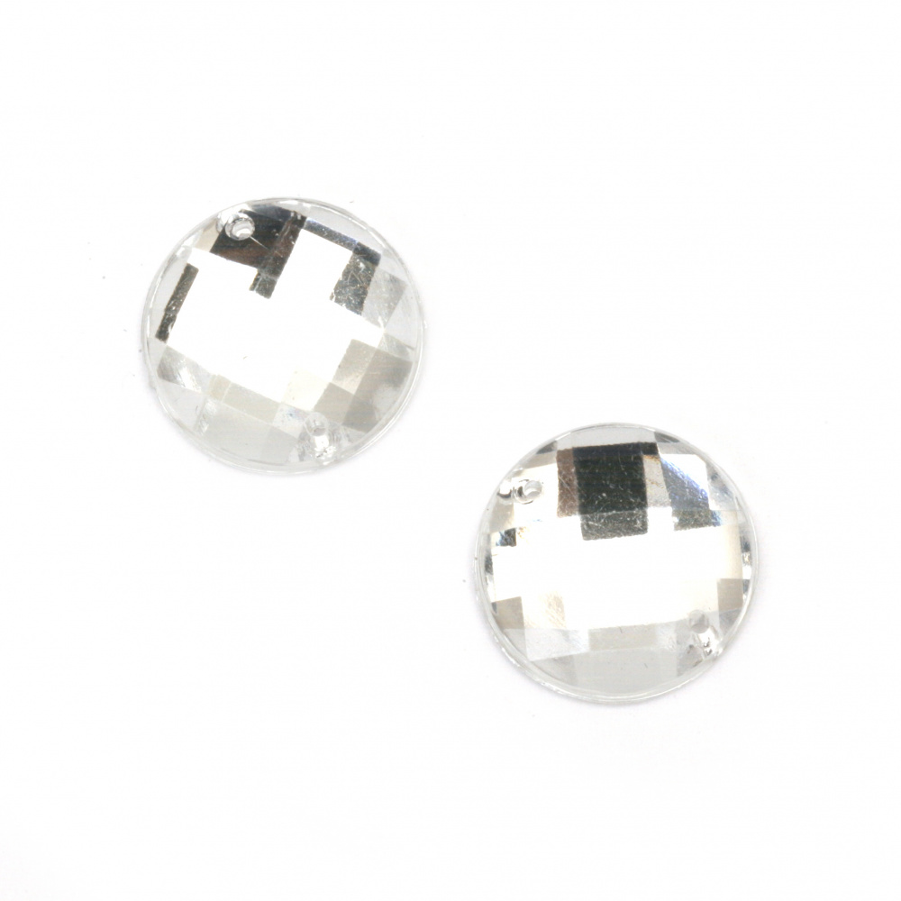 Acrylic stone for sewing 14 mm round white transparent faceted, extra quality - 25 pieces