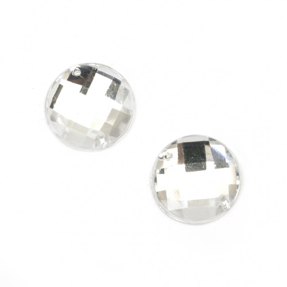 Piatră acrilică pentru cusut 14 mm rotunjire albă fațetă transparentă de calitate suplimentară - 25 bucăți