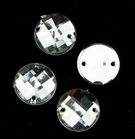 Piatră acrilică pentru cusut de 10 mm rotund alb de primă calitate - 50 bucăți
