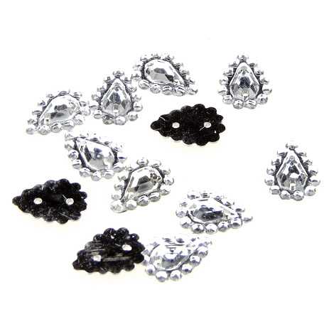 Sew On Acrylic Rhinestone, Knitting, Clothes, Decoration 8x12 mm drop white -50 pieces