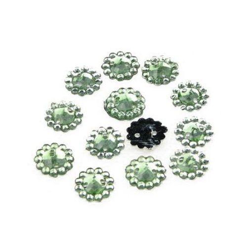 Piatră acrilică pentru cusut 10 mm rotunda verde -50 bucăți