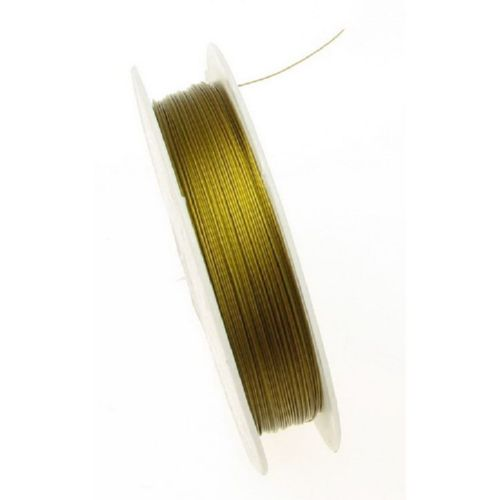 Steel Cord, Jewelry DIY Making 0.38 mm gold color ~ 50 meters