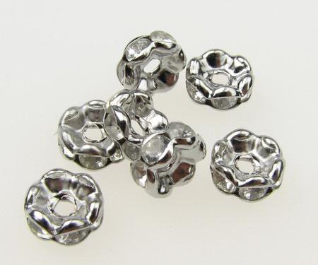 Шайба метал с кристали зиг заг 6x3 мм дупка 1.5 мм цвят сребро -10 броя
