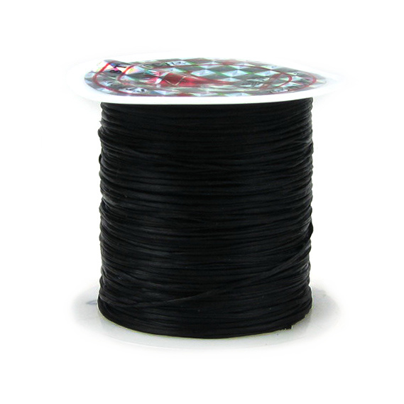 Ελαστικό κορδόνι σιλικόνης 0,8 mm μαύρο ~ 11 μέτρα/ καρούλι