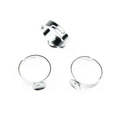Метална основа за пръстен регулиращ 18 мм основа 18 мм цвят бял -10 броя