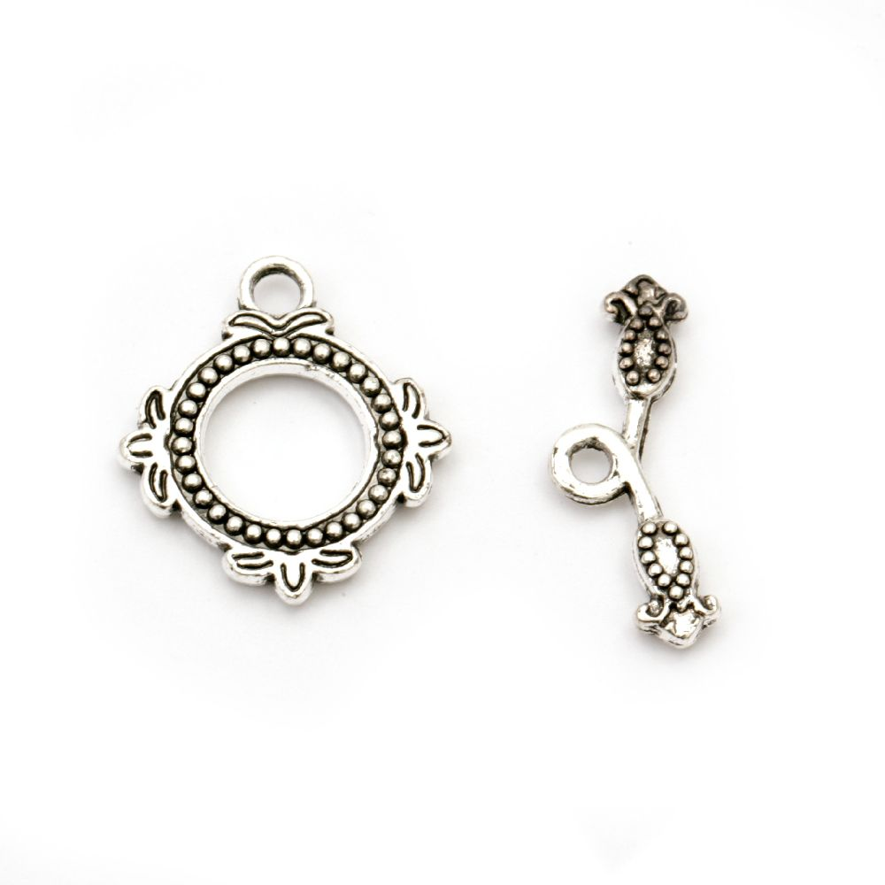 Закопчалка метална 2 части 20x18x2 мм дупка 2.5 мм цвят старо сребро -2 комплекта