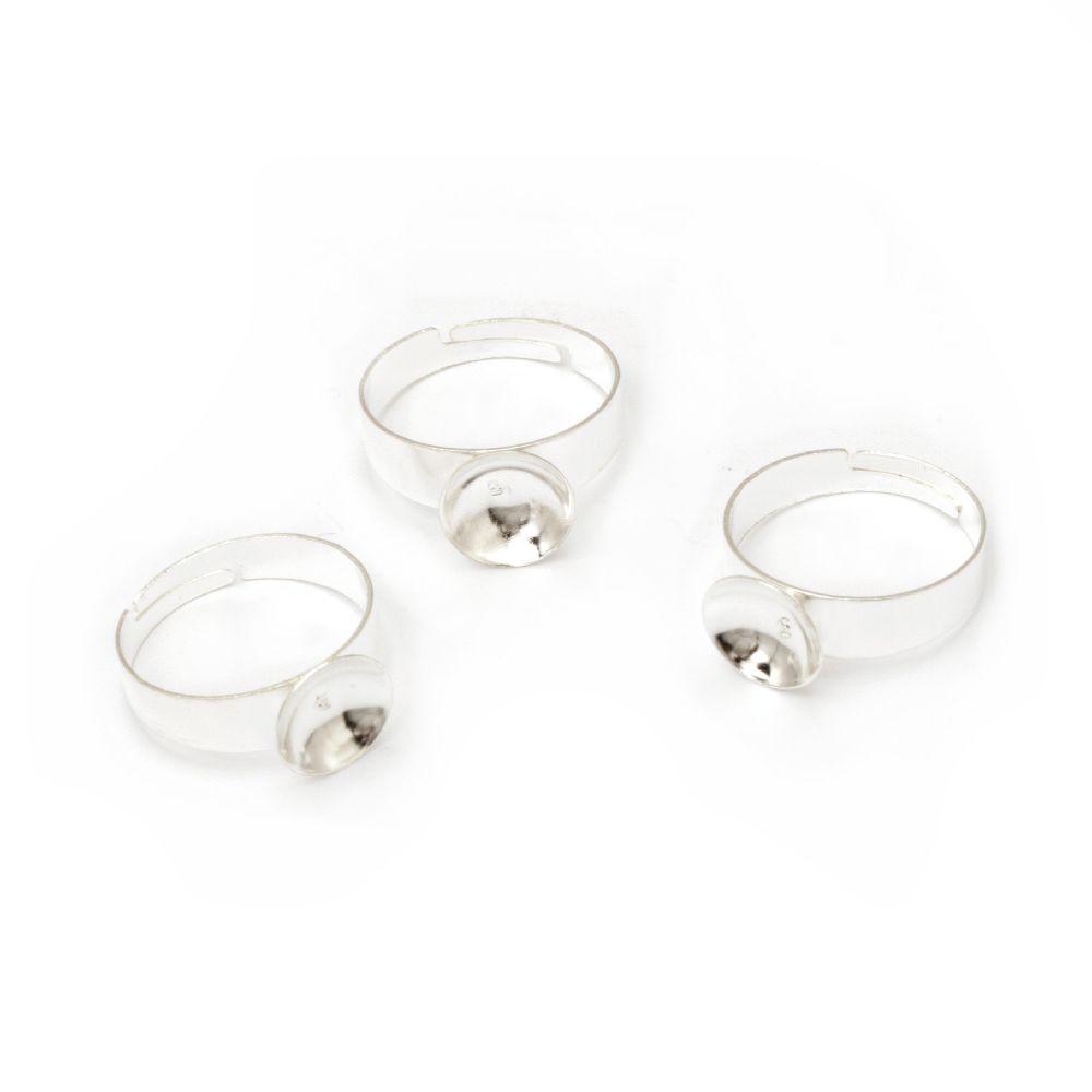 Метална основа за пръстен регулиращ 19 мм основа 10 мм цвят бял -10 броя