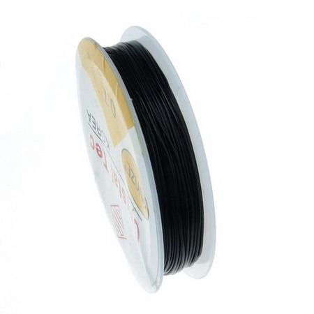Stretchy Beading Elastic Wire Roll, 0.7 mm transparent black ~ 13 meters