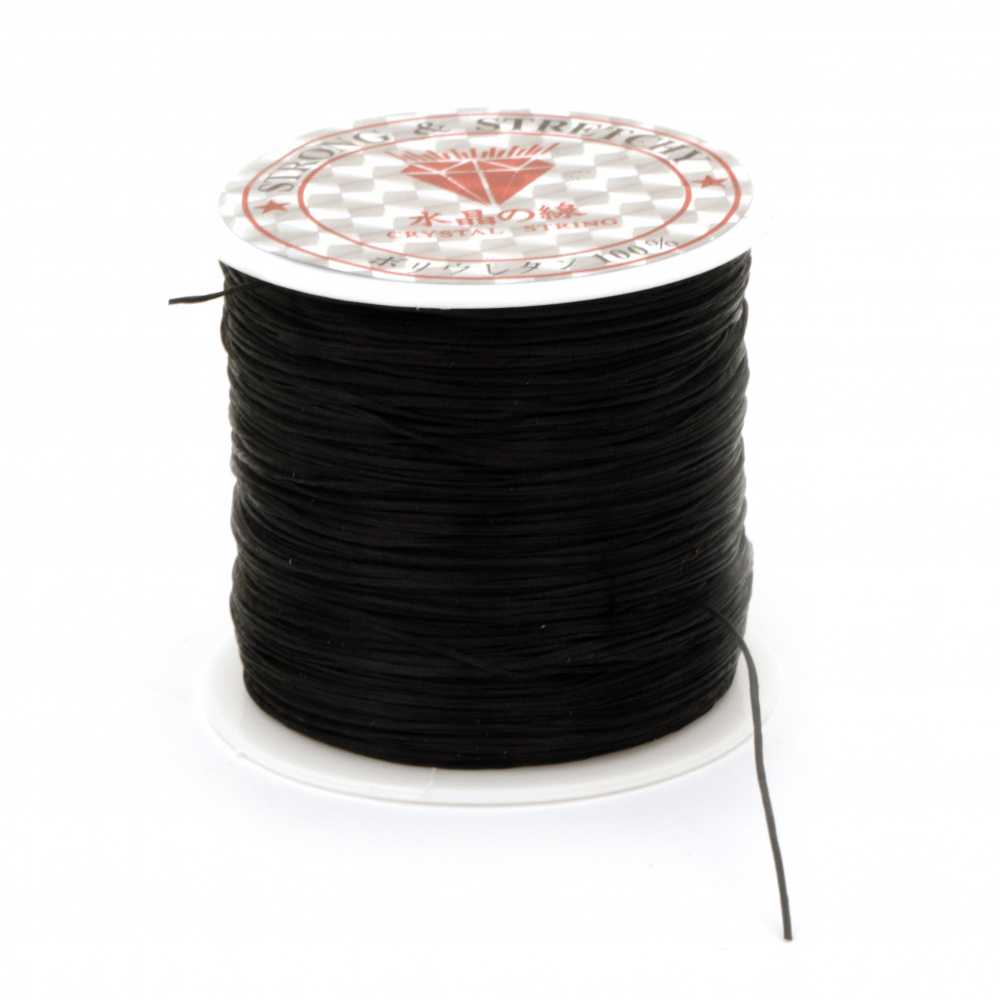 Jewelry Elastic Wire Roll, 0.8 mm black ~ 75 meters