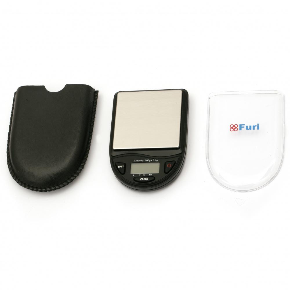 Ψηφιακή ζυγαριά οικιακής χρήσης έως 500 γραμμάρια σε 0,1 γραμμάρια 68x100x20 mm με δερμάτινη θήκη και 2 μπαταρίες