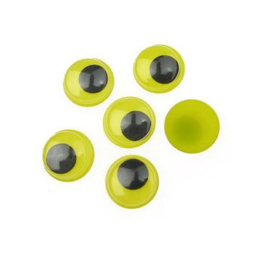 Ochi care se mișcă de bază galbenă 12 mm -50 bucăți