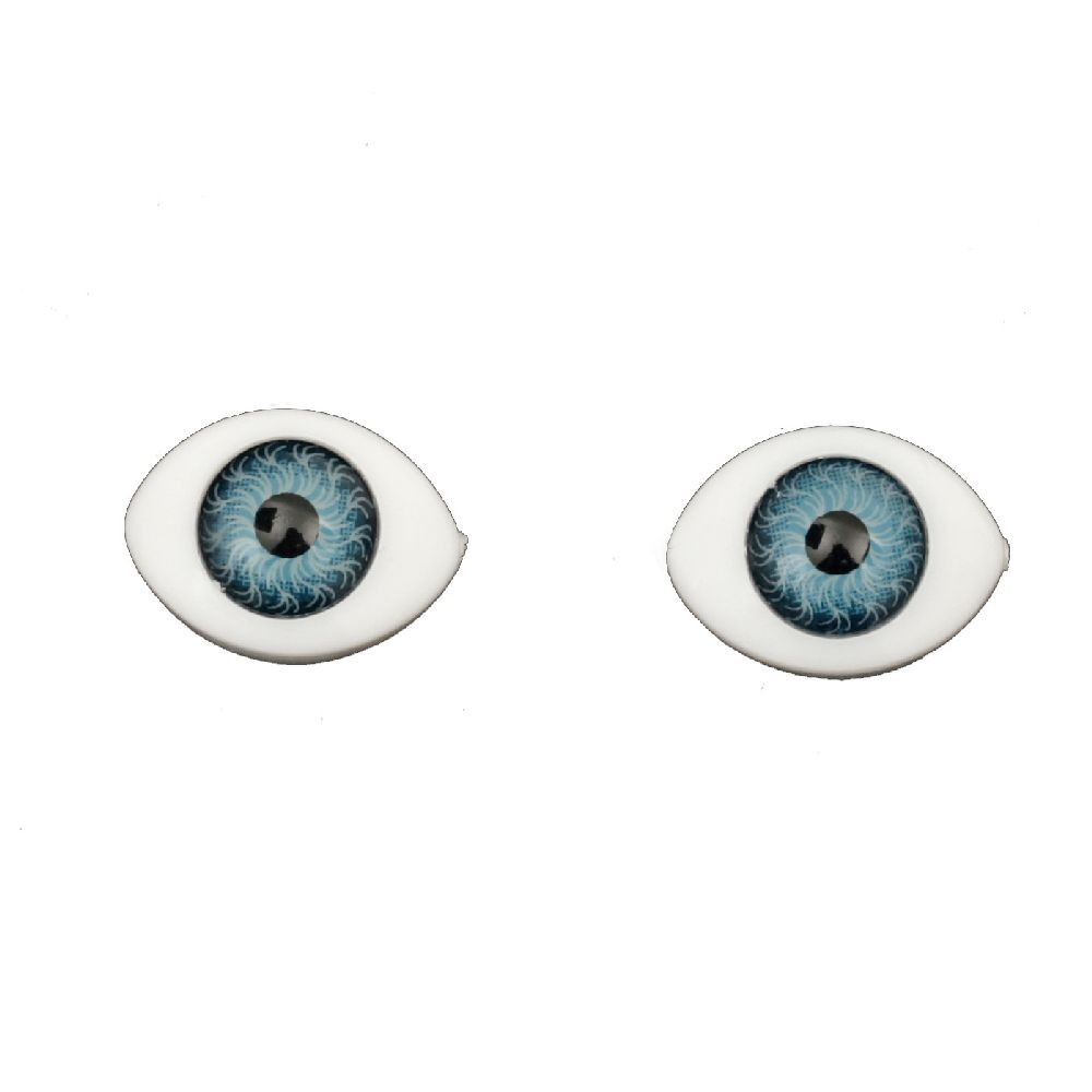 Plastic Eyes DIY Dolls Kids Crafts, Artificial Eye Decor 15x11x6 mm blue - 10 pieces
