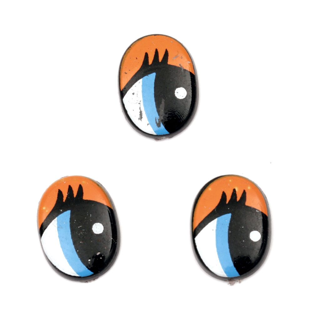 Painted Eyes with eyelashes for Decorations, DIY Crafts Handmade Accessories 16x11x2 mm blue and orange - 20 pieces